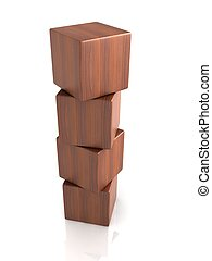 wood cubes - four wood cubes on white backgorund.