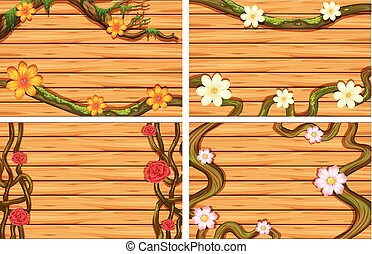 Four wooden background with flowers on vine