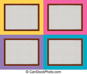 Four wooden frames with different color backgrounds