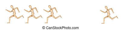 Four wooden mannequin running