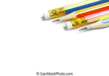 Four wooden sharp pencils