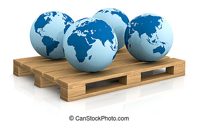 shipping everywhere - four world globes showing different...