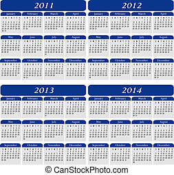 Four Year Calendar in Blue