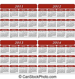 Four Year Calendar in Red for the years 2011, 2012, 2013, ...