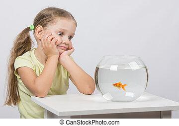 Four-year girl admires a goldfish in an aquarium
