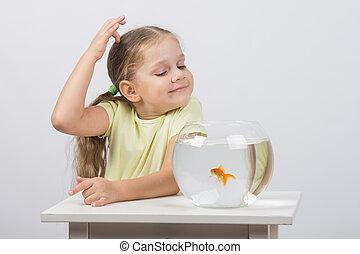 Four-year girl make a wish while enjoying a goldfish in an aquarium