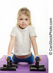 Four-year girl pressed the palm pushups
