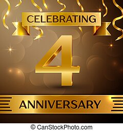 Four Years Anniversary Celebration Design. Confetti and gold ribbon on golden background. Colorful Vector template elements for your birthday party. Anniversary ribbon