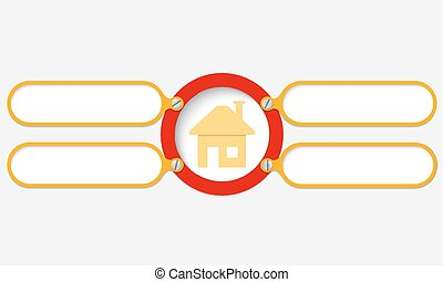 four yellow frame for your text and home symbol