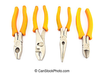 Four yellow pliers isolated on white
