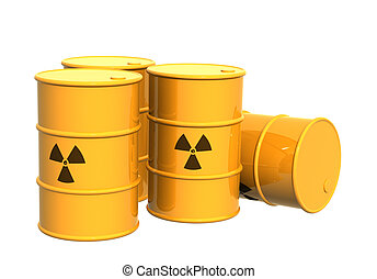 Four yellow tanks with a radioactive symbol - Four yellow...