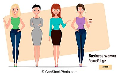 Four young cartoon businesswomen. Set of beautiful girls in working situations.