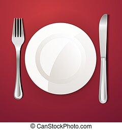 fourchette, assiette creuse, couteau