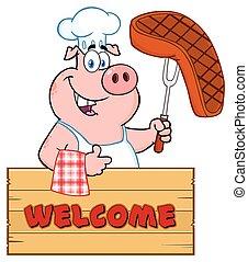 fourchette, bifteck, pouce, bois, sur, caractère, haut, signe, chef cuistot, cuit, barbecue, tenue, cochon, dessin animé, donner, mascotte