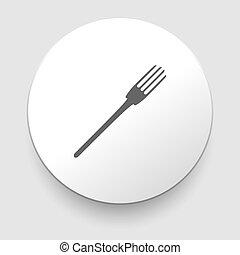 fourchette, blanc, vecteur, fond, icône
