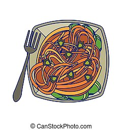 fourchette, bleu, spaghuetti, lignes, plat