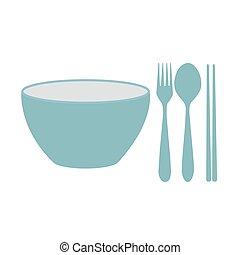 fourchette, bol, baguettes, cuillère