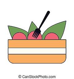 fourchette, bol, salade