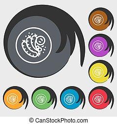 fourchette, buttons., coloré, signe., saucisse, symboles, vecteur, huit, grillé, icône