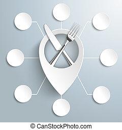 fourchette, cercles, emplacement, marqueur, 8, blanc, couteau