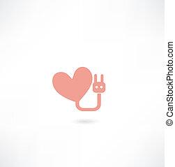 fourchette, coeur, électronique, icône