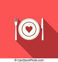 fourchette, coeur, plaque, valentine, illustration, isolé, plat, day., vecteur, long, icône, heureux, shadow., couteau, design.