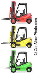 fourchette, coloré, camions, trois, lumières, ascenseur, trafic
