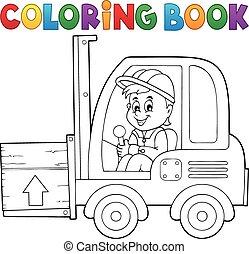 fourchette, coloration, 1, thème, ascenseur, camion, livre