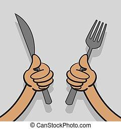 fourchette, couteau, mains