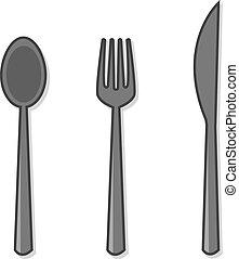 fourchette, cuillère, argenterie, couteau