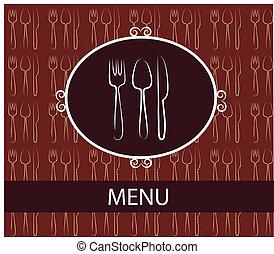 fourchette, cuillère, knife., restaurant, gabarit, menu, conception