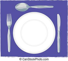 fourchette, -, cuillère, monture, endroit, plat, couteau
