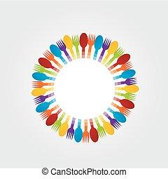 fourchette, cuillères, concevoir élément