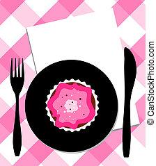 fourchette, dessert, couteau, plaque