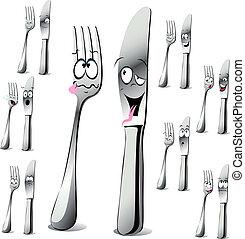 fourchette, dessin animé, couteau
