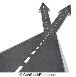 fourchette, devant, deux, choisir, directions, route