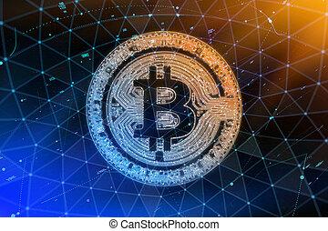 fourchette, doré, monnaie, réseau, or, brûler, concept., dur, blockchain, bitcoin, cryptocurrency, arrière-plan., pair, flame., symbole