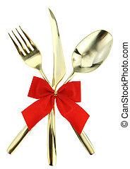 fourchette, empilé haut, cuillère, fond, cutlery., noël blanc, couteau
