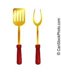 fourchette, ensemble, illustration, spatule, vecteur, outils