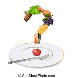 fourchette, fait, plaque, nourriture, point interrogation