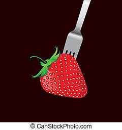 fourchette, fraise, vecteur