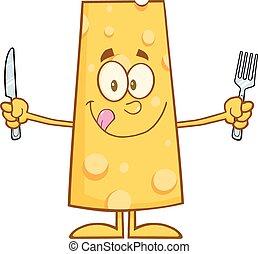 fourchette, fromage, affamé, couteau