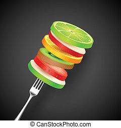 fourchette, fruit, couper