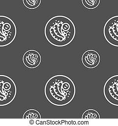 fourchette, gris, modèle, signe., saucisse, seamless, arrière-plan., vecteur, grillé, icône