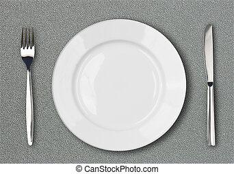 fourchette, gris, plaque, sommet, surface, plastique, textured, table, blanc, couteau, vue
