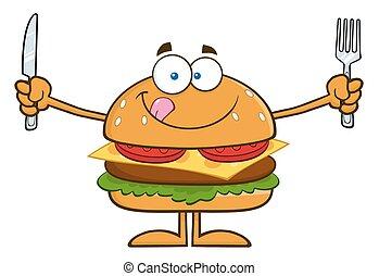 fourchette, hamburger, couteau