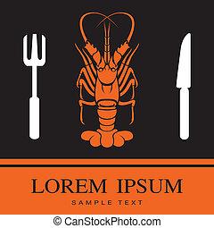 fourchette, homard, icône couteau