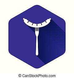 fourchette, icône, illustration, saucisse, button., pourpre, vapeur, vecteur, shadow., signe., long, arôme, hexagone, isolé, grillé, blanc