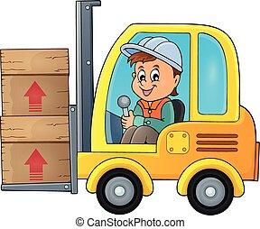 fourchette, image, 1, thème, ascenseur, camion