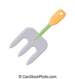 fourchette, jardinage, icône, détail, plat, style